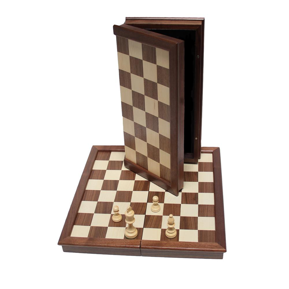 17 in. Classic Chess Set - Folding Walnut Wood Board