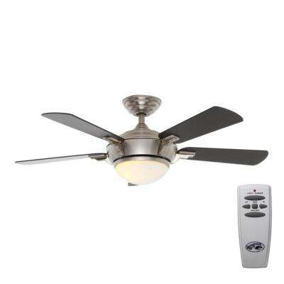 LED Indoor Brushed Nickel Ceiling Fan With Light Kit And Remote Control ...