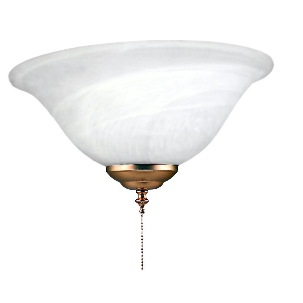 Royal Pacific 1-Light Fan Light Kit Alabaster Glass Polished Brass finish-DISCONTINUED
