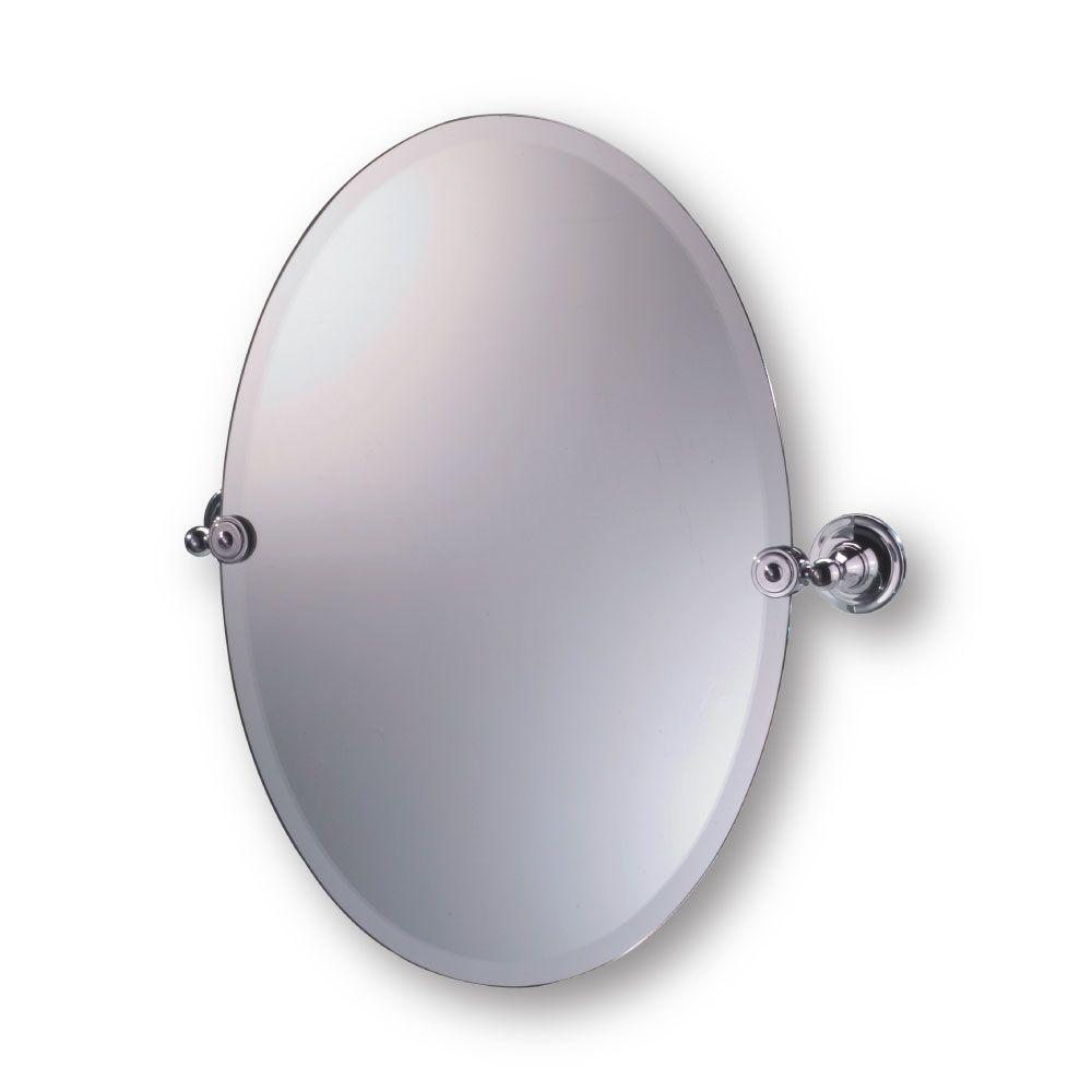 Moderno Diviana 20 in. x 24 in. Oval Pivot Mirror in Polished Chrome-DISCONTINUED