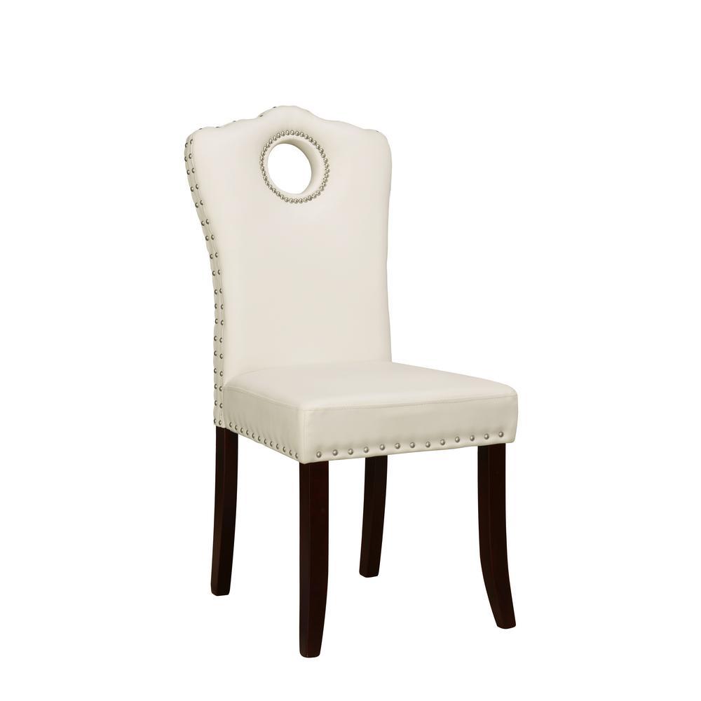 Cream Vinyl Nail Head Trim Accent Chair (Set of 2)