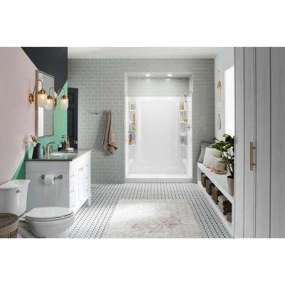 STORE+ 30 in. x 60 in. Single Threshold Right-Hand Shower Base with Shower Walls and 10-Piece Accessory Kit in White