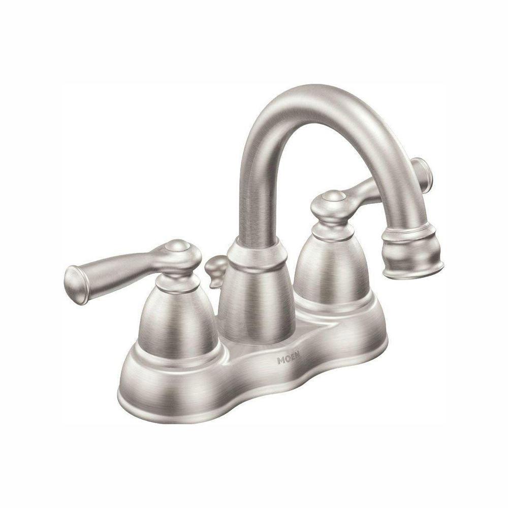 MOEN Banbury 4 in. Centerset 2-Handle Bathroom Faucet in Spot Resist  Brushed Nickel