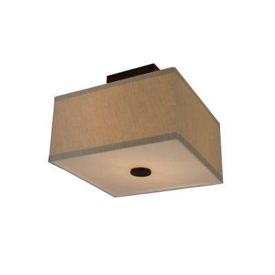 Glenburn 12 in. 2-Light Oil-Rubbed Bronze Semi-Flushmount with Cube Golden Fabric Shade