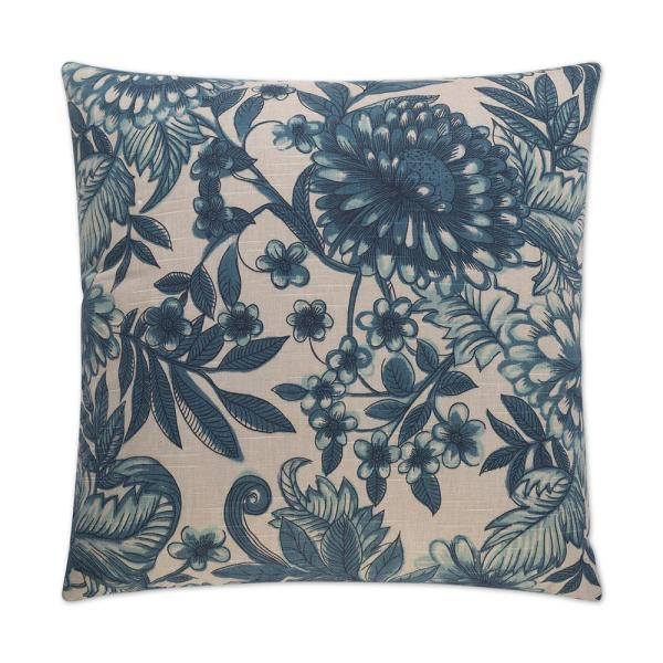 Morocco Blue Floral Down 24 in. x 24 in. Throw Pillow