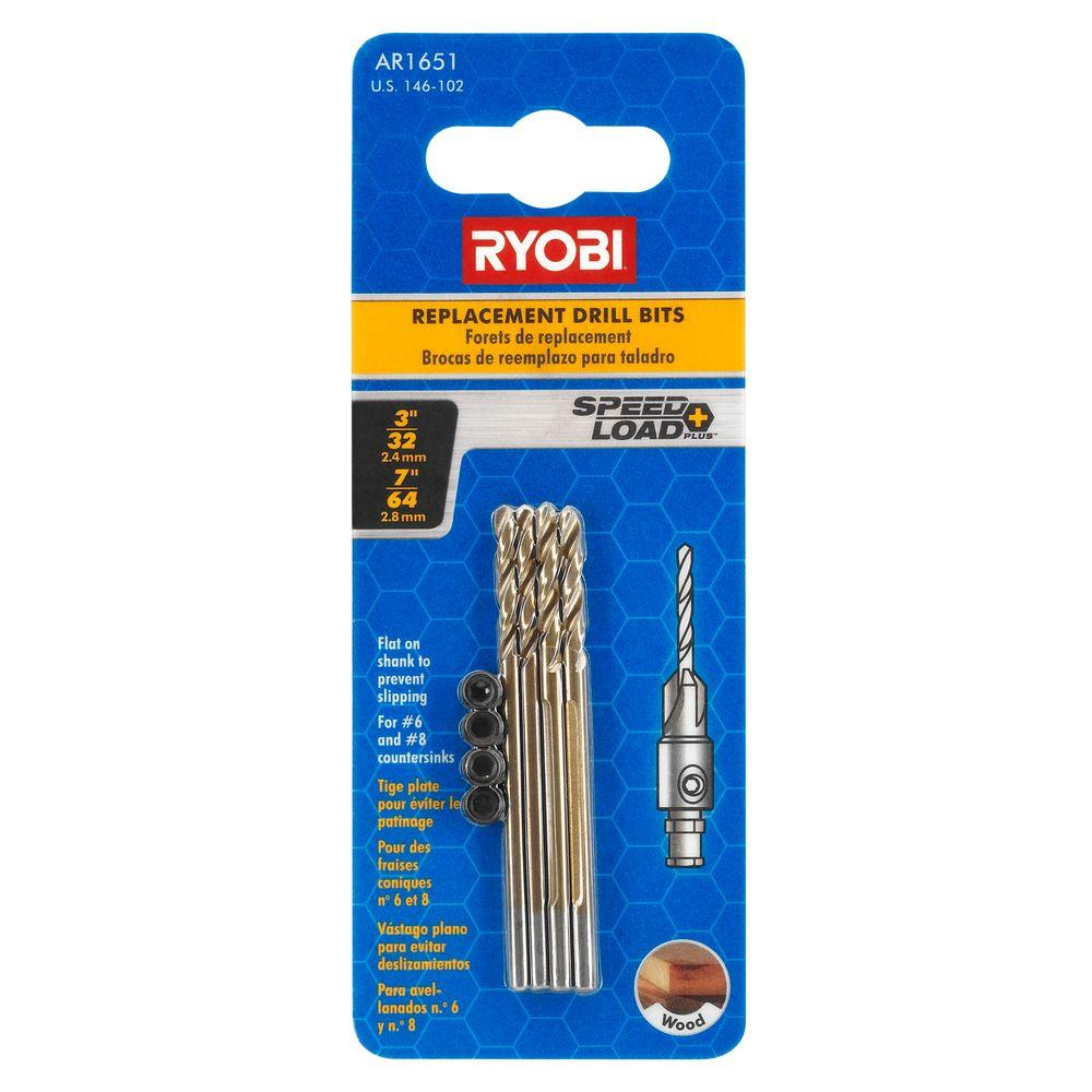 Ryobi 7/64 In. and 3/32 In. Replacement Drill Bits for Countersinks