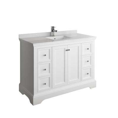 Windsor 48 in. W Traditional Bathroom Vanity in Matte White with Quartz Stone Vanity Top in White with White Basin