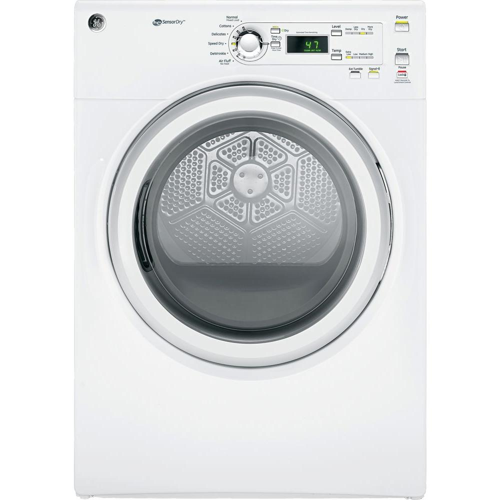 GE 7.0 cu. ft. 240 Volt White Stackable Electric Vented D...