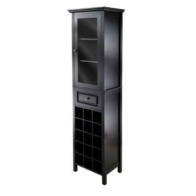 Burgundy 15-Bottle Black Bar Cabinet