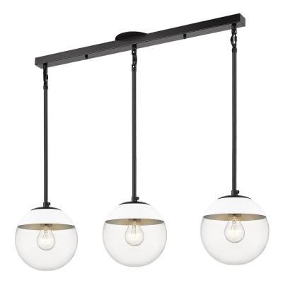 Dixon Linear Pendant in Black with Clear Glass and White Cap