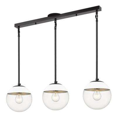 Dixon 3-Light Linear Pendant in Black with Clear Glass and White Cap
