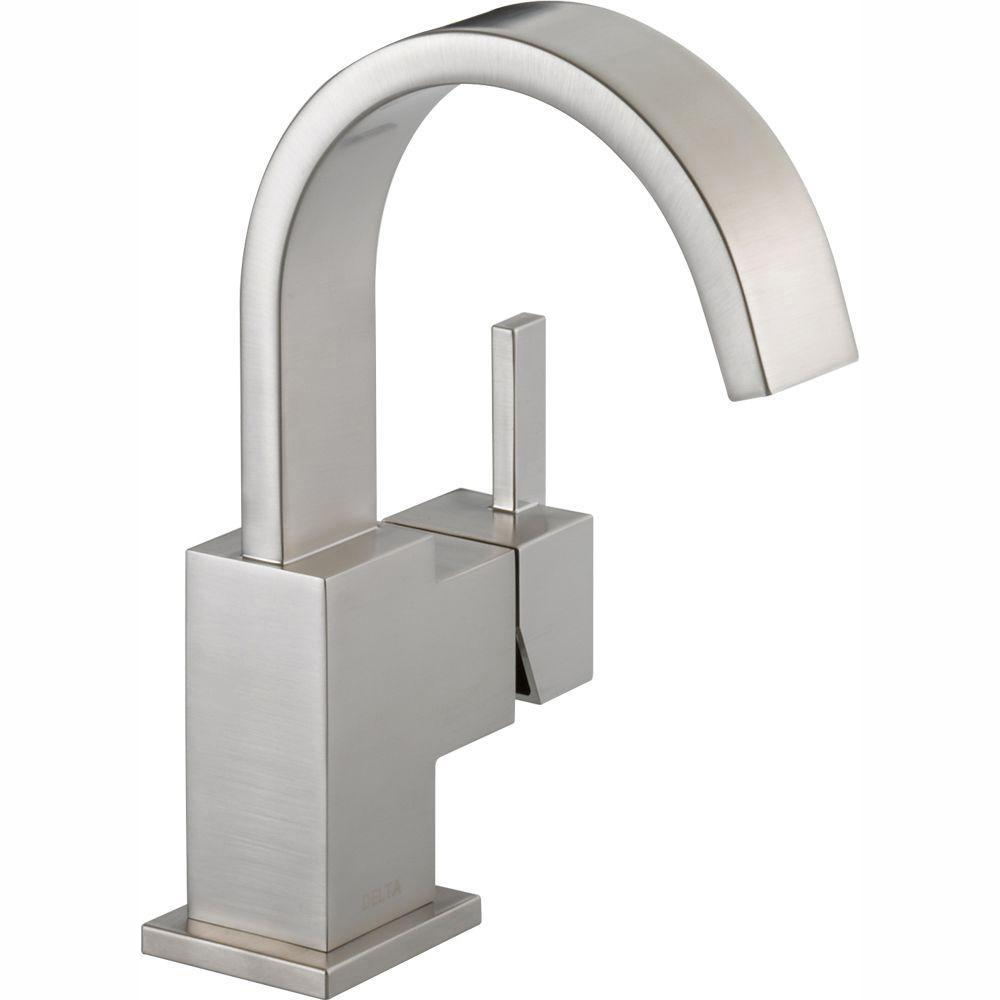 Delta Vero Single Hole Single-Handle Bathroom Faucet with Metal Drain Assembly in Stainless