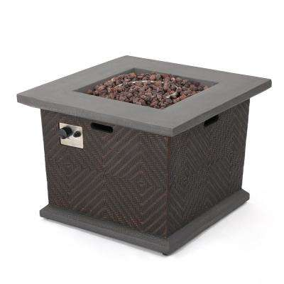Blaze 32 in. x 24 in. Square Magnesium Oxide Gas Fire Pit in Brown