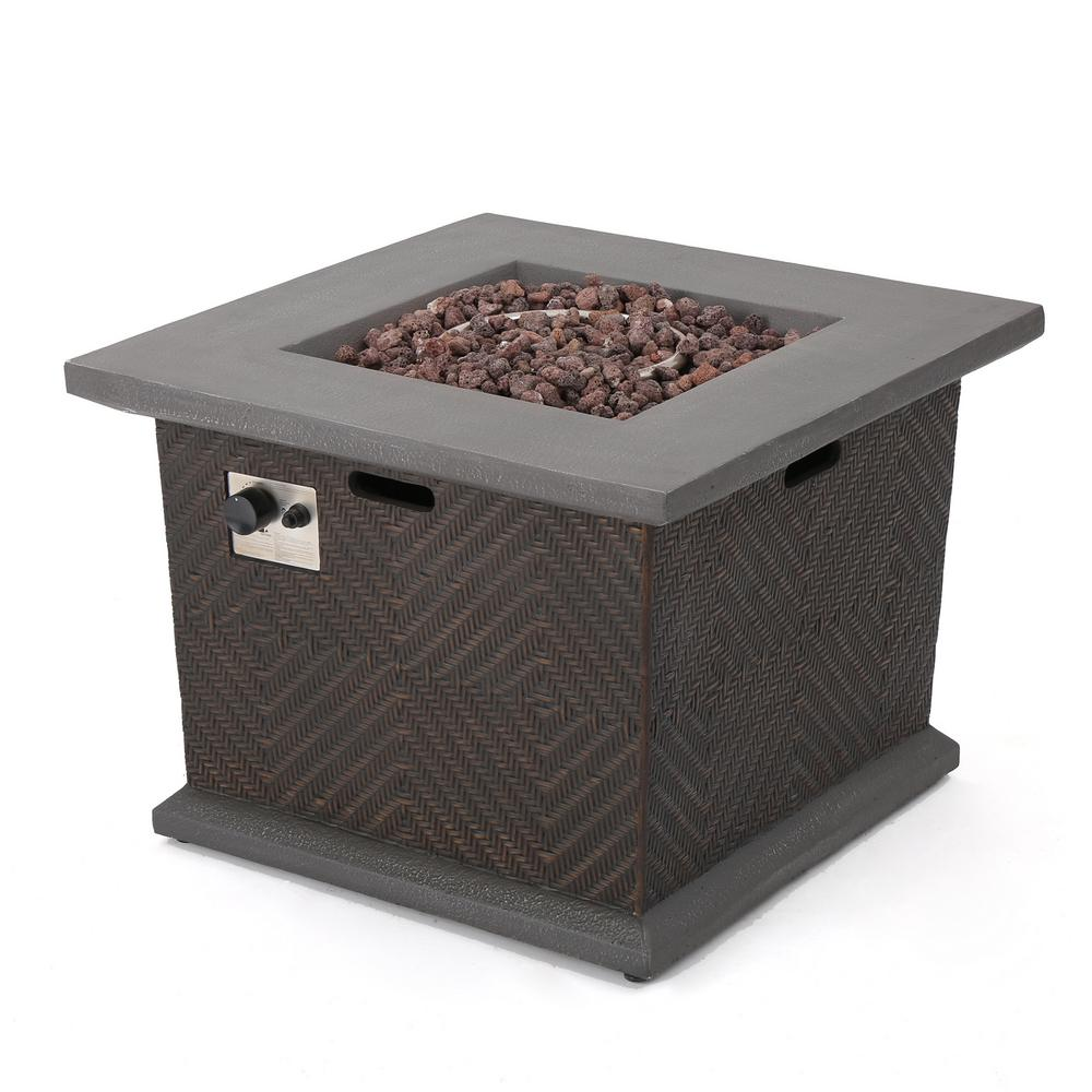 Noble House Blaze 32 in. x 24 in. Square Magnesium Oxide Gas Fire Pit in Brown