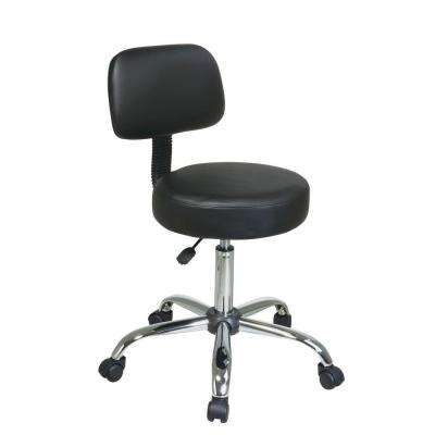 Black Vinyl Drafting Stool