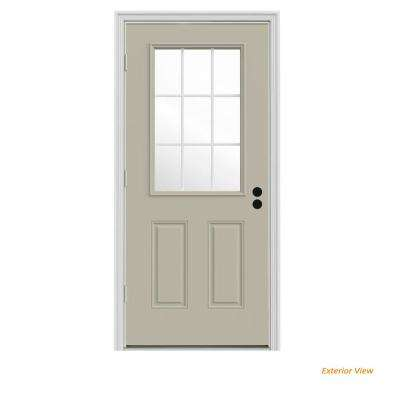 32 in. x 80 in. 9 Lite Desert Sand Painted Steel Prehung Right-Hand Outswing Front Door w/Brickmould