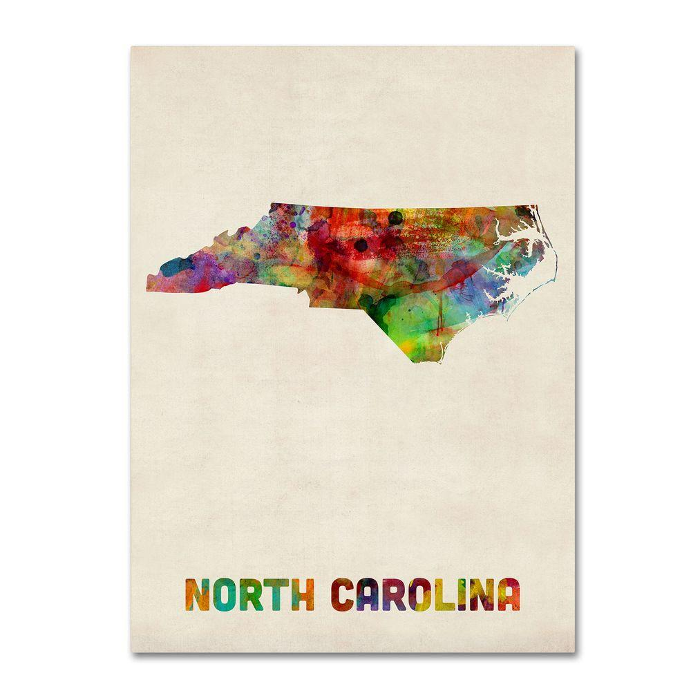 14 in. x 19 in. North Carolina Map Canvas Art