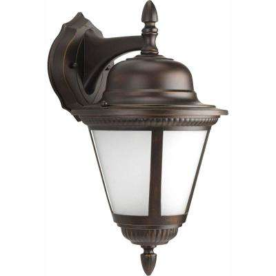Westport Collection 1-Light 16 in. Outdoor Antique Bronze Wall Lantern Sconce