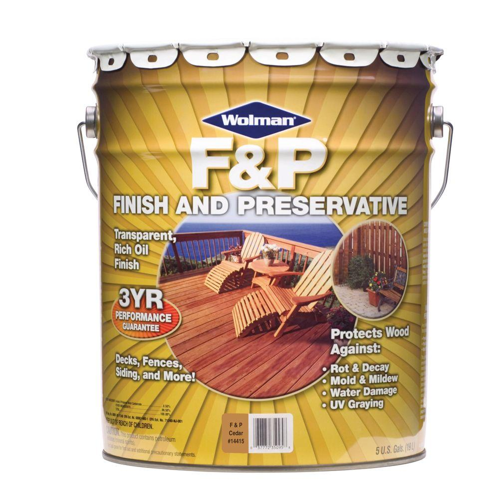 F&P Finish & Preservative 5-gal. Oil-Based Transparent Cedar Deep-Penetrating Exterior Wood Stain-DISCONTINUED