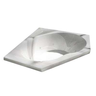 Quartz 5 ft. Acrylic Corner Drop-in Whirlpool Bathtub in White