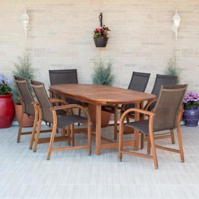 Bahamas 7-Piece Eucalyptus Extendable Rectangular Patio Dining Set with Brown Sling Seat