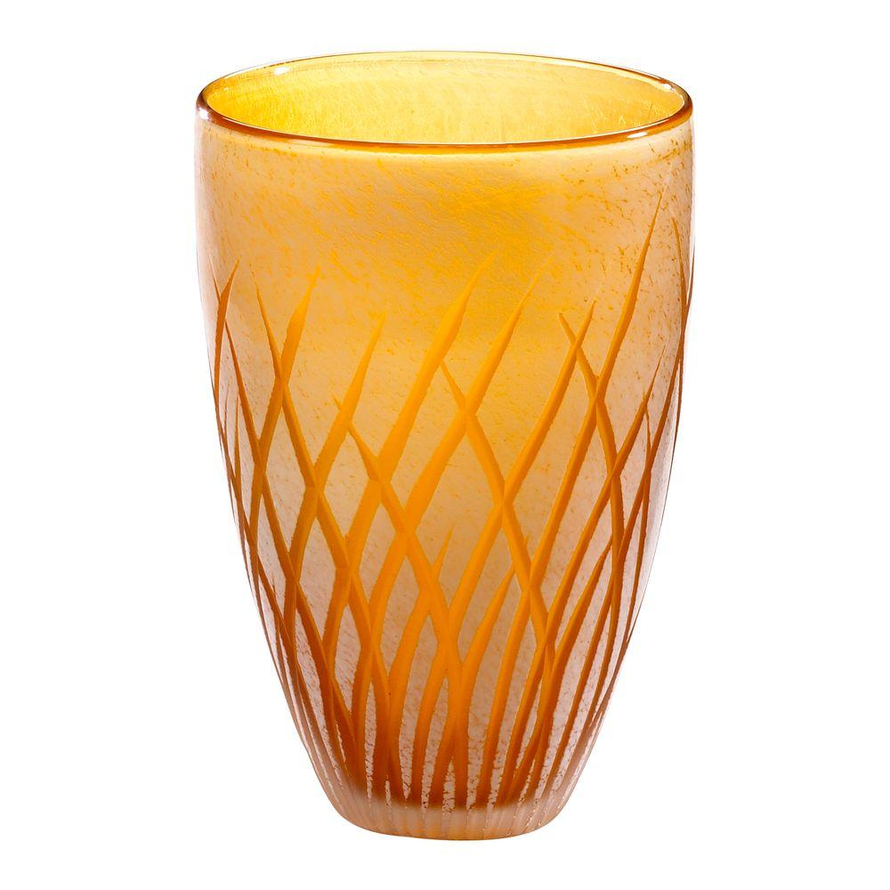 Filament Design Prospect 8 in. x 5.5 in. Amber And White Vase
