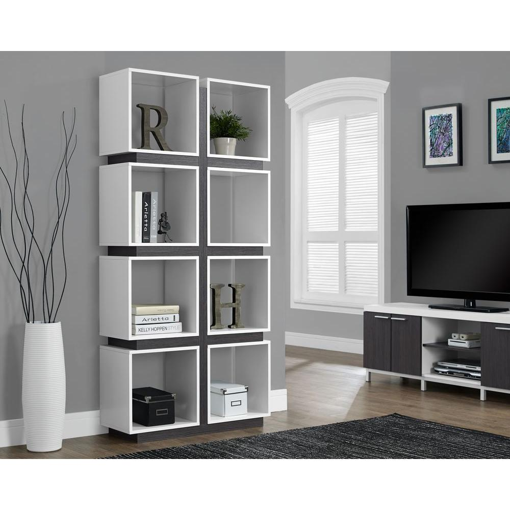 Tv Helping Push Kitchens Off The Shelf: Monarch Specialties White And Grey Open Bookcase-I 7076