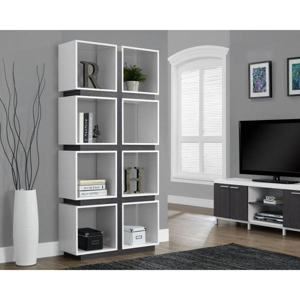 Monarch Specialties White and Grey Open Bookcase