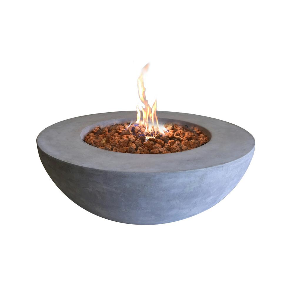 Elementi Lunar 42 in. x 16 in. Round Concrete Stainless Steel Propane Burner Fire Pit Bowl with Lava Rock