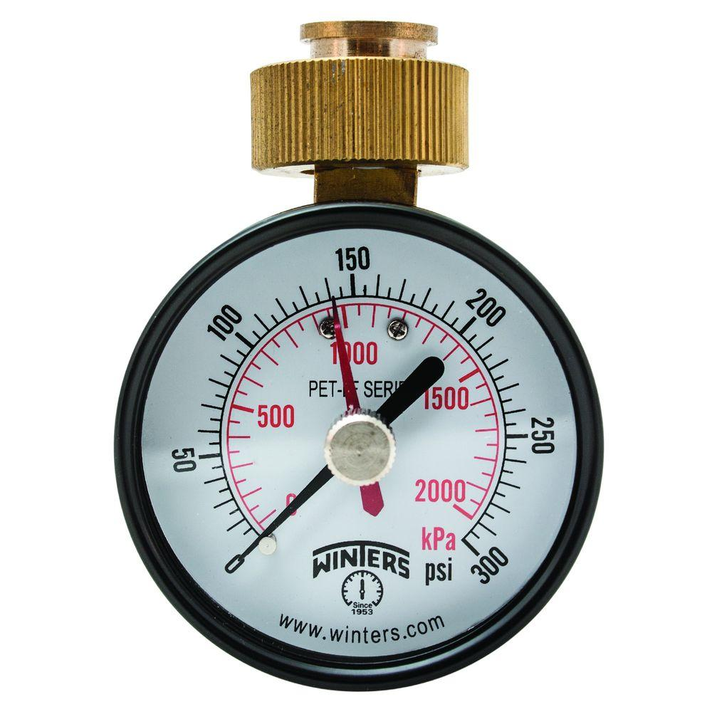 Winters Instruments 2.5 in. Lead-Free Brass Water Pressure Test Gauge with 3/4 in. Female Swivel Hose and Maximum Pointer, 0-300 psi/kPa