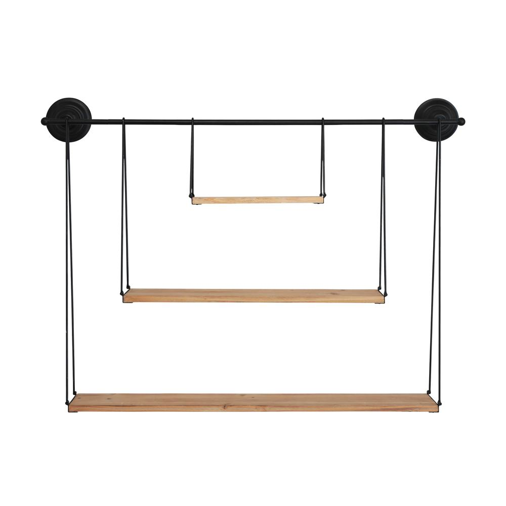 Stratton Home Decor 3 Tier Metal And Wood Wall Shelf S33488 The Home Depot