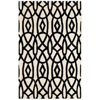 Palace Ivory/Black 2 ft. x 4 ft. Indoor Area Rug
