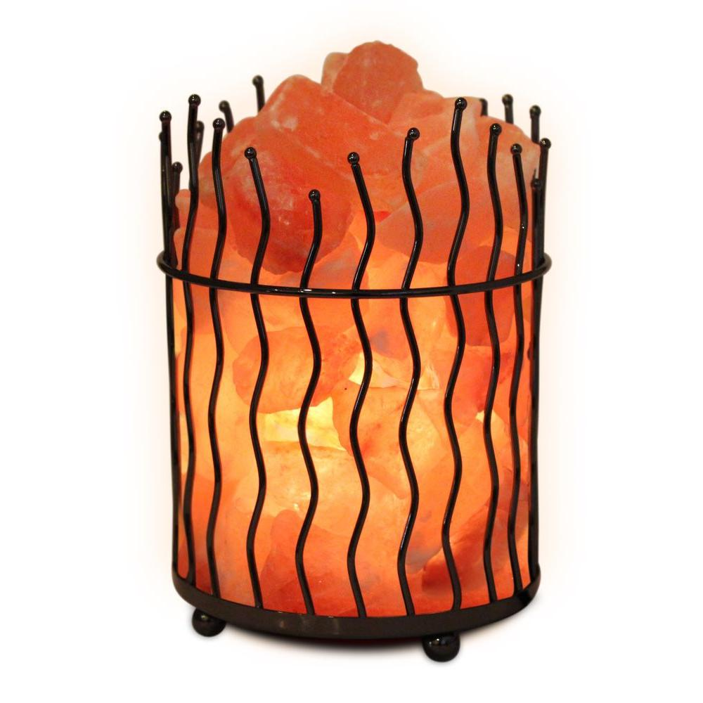 null 7.8 in. Himalayan Ionic Crystal Salt Pillar and Natural Amber Glow Table Lamp