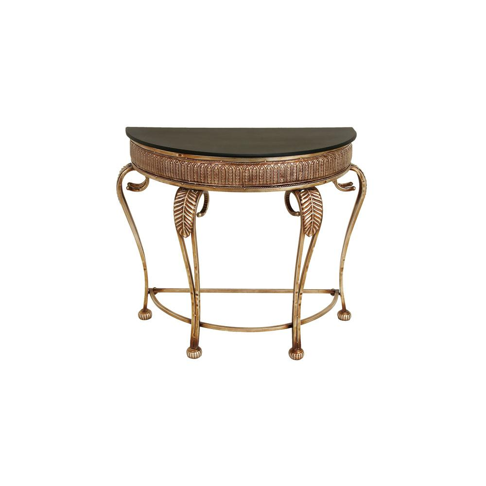 Demilune Textured Gold Iron Console Table