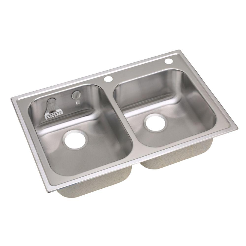 twin bowl kitchen sinks elkay magna drop in stainless steel 33 in 2 6417