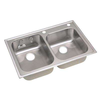 Magna Drop-In Stainless Steel 33 in. 2-Hole Double Bowl Kitchen Sink