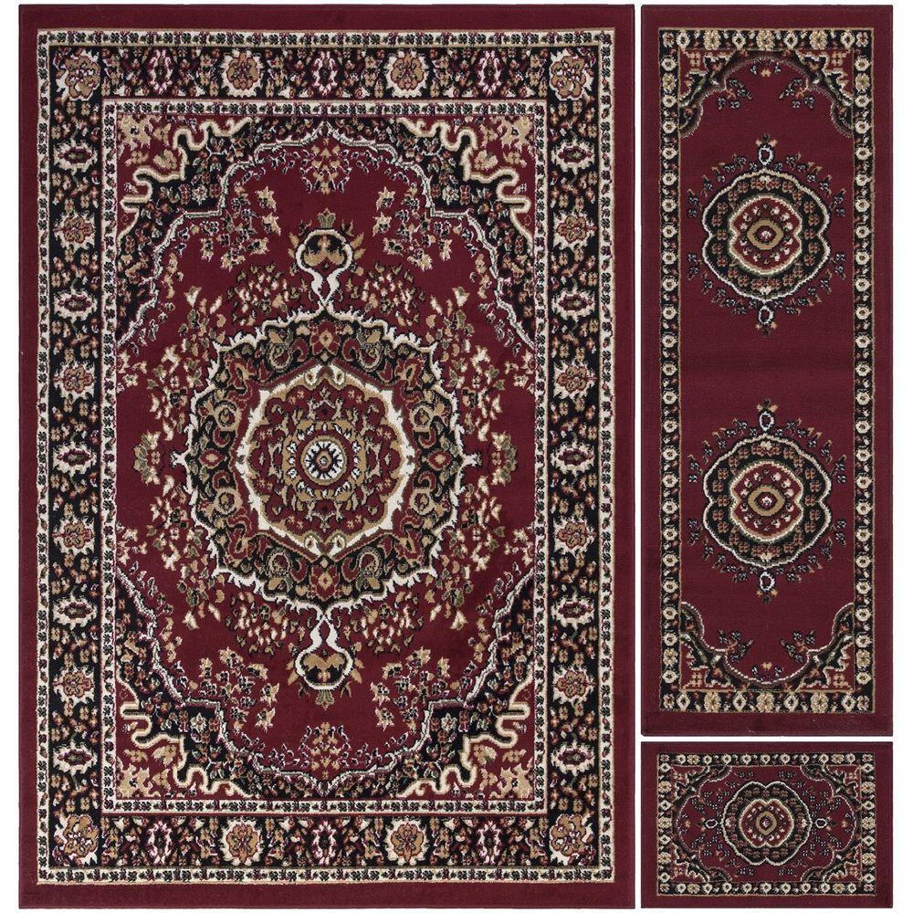 Paterson Collection Traditional Oriental Design Dark Red 5 ft. x 7