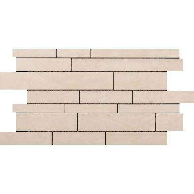 Citadel Ivory 11.5 in. x 20.2 in. x 10mm Porcelain Mesh-Mounted Mosaic Tile