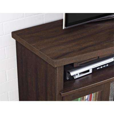 Yucca 60 in. Espresso TV Stand Console with Fireplace/Glass Doors