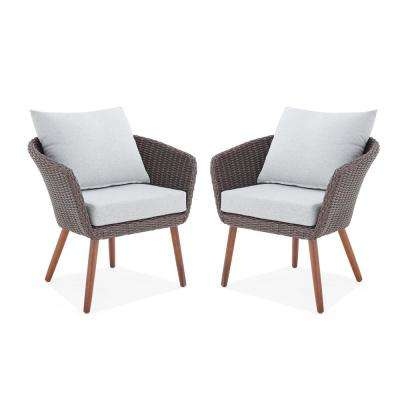 Athens Chocolate Brown Stationary All-Weather Wicker Outdoor Lounge Chairs with Light Gray Cushions (Set of 2)