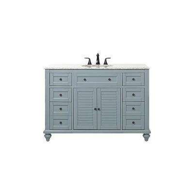 Hamilton Shutter 49.5 in. W x 22 in. D Bath Vanity in Sea Glass with Granite Vanity Top in Grey with White Basin