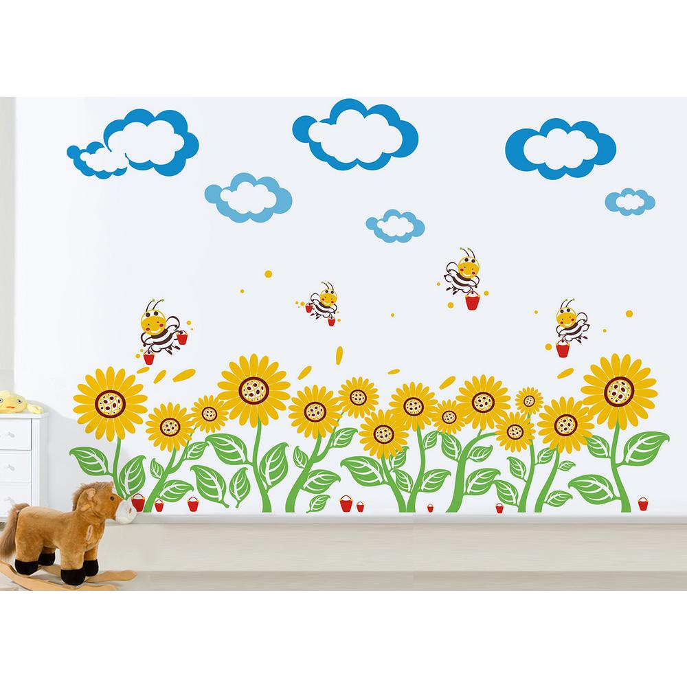 110 in. x 30 in. Blue Clouds, Red Bucket Sunflowers Floral