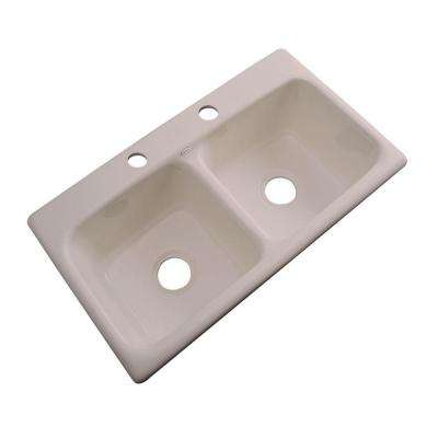 Brighton Drop-In Acrylic 33 in. 2-Hole Double Bowl Kitchen Sink in Fawn Beige