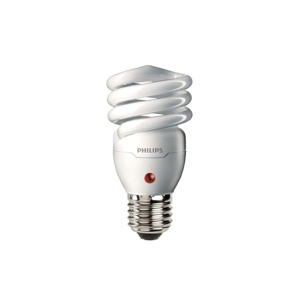 Philips 60W Equivalent Soft White Spiral Dusk-Till-Dawn CFL Light Bulb