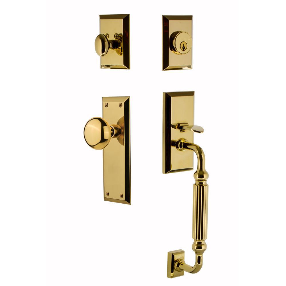 New York Plate 2-3/4 in. Backset Lifetime Brass F Grip Entry Set New York Knob
