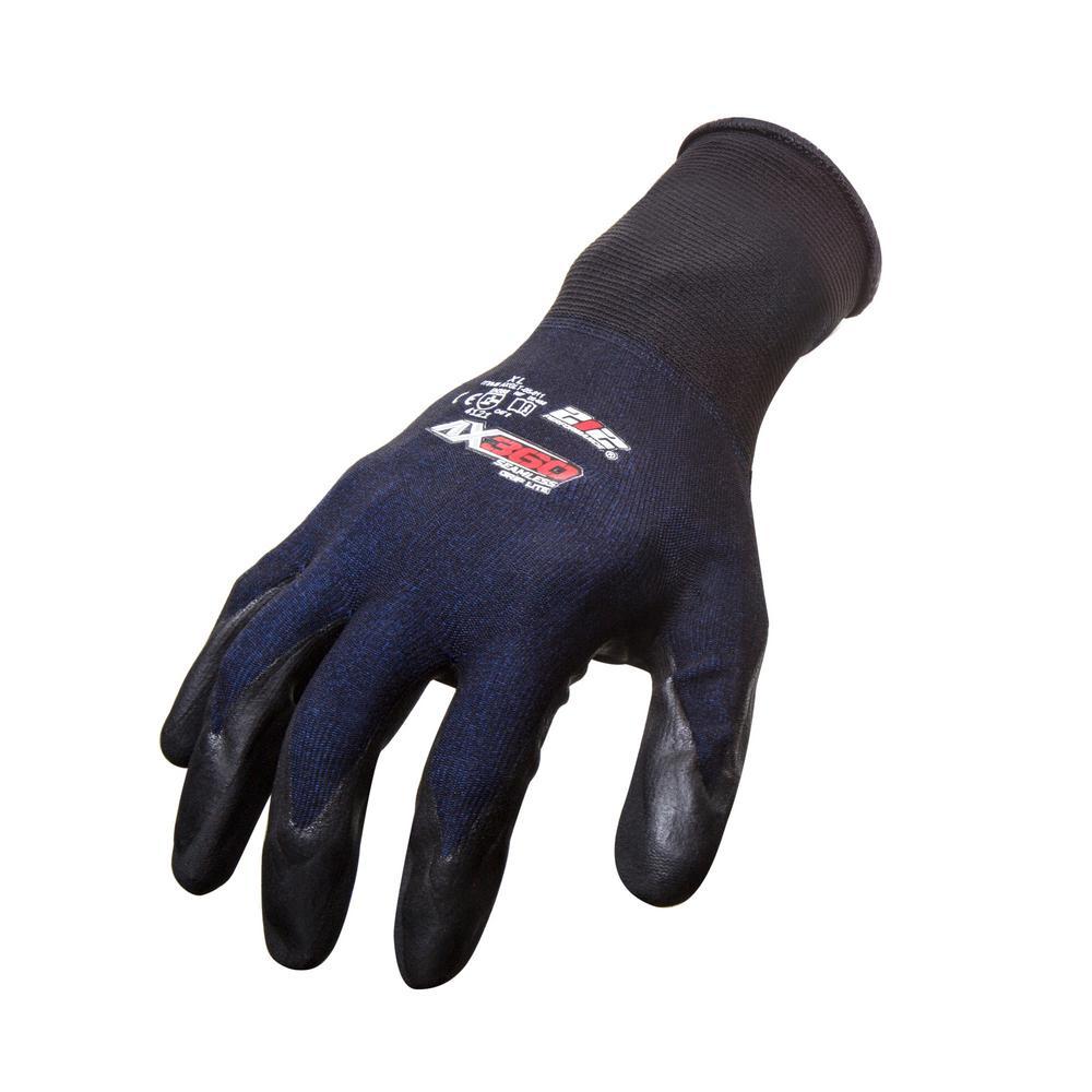 AX360 Grip Lite Large Black Nitrile-dipped Work Gloves (12-Pairs)