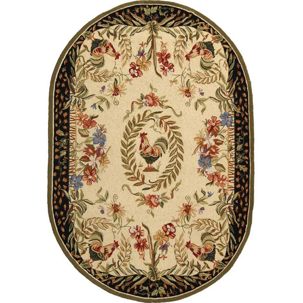 Safavieh Chelsea Cream Black 8 Ft X 10 Ft Oval Area Rug