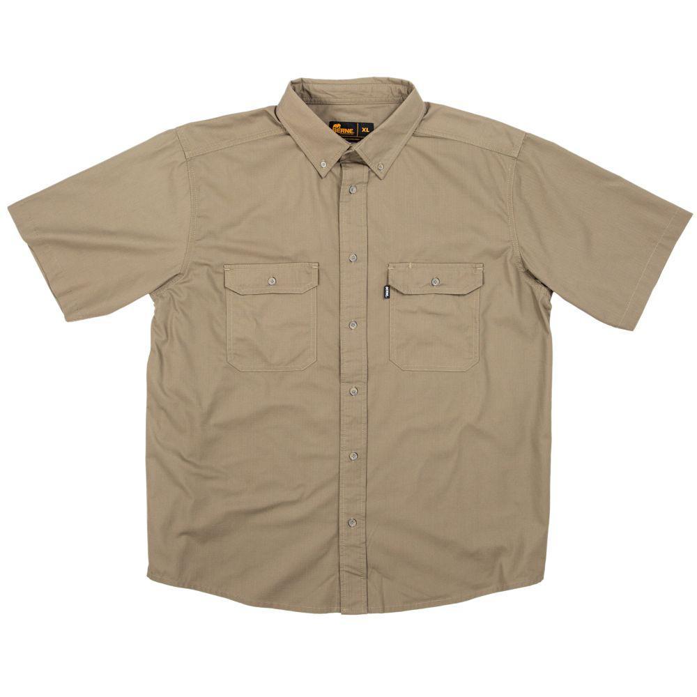 Men's Medium Putty Cotton and Polyester Short Sleeve Ripstop Work Shirt