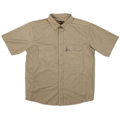 Men's Large Putty Cotton and Polyester Short Sleeve Ripstop Work Shirt