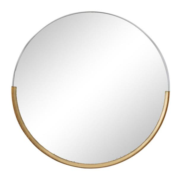 Round Wall Mirror With Gold Metal Framed Base, 30'' X 30''
